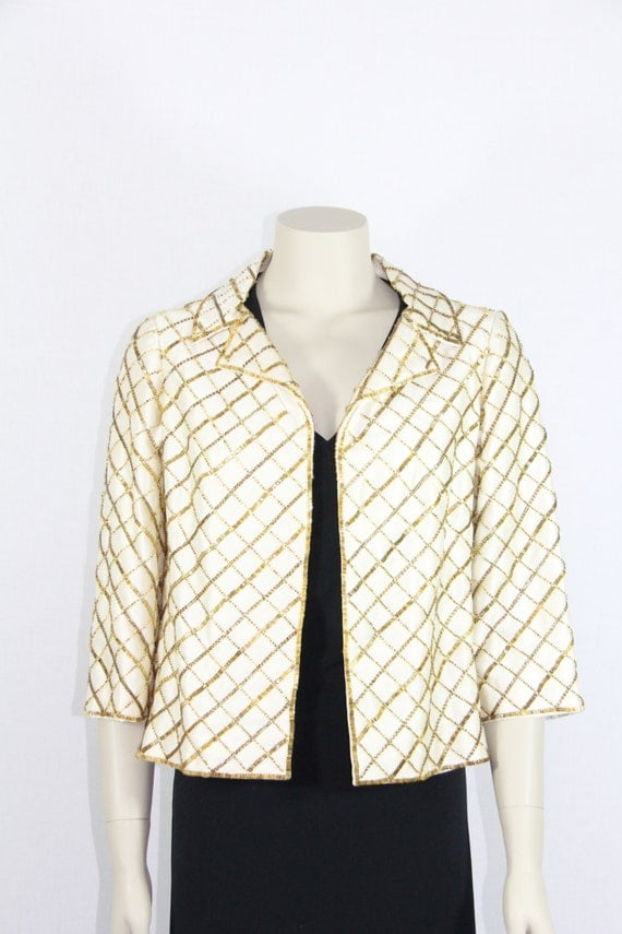 1960s Vintage Jacket - Short Coat - Ivory Silk with Gold Beading Dressy Wedding Attire