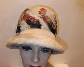 Vintage Hat Beige Faux Fur with Feathers Mr Josephs New York Selene Designer