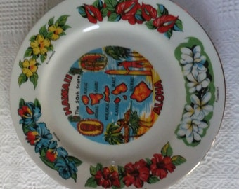 Vintage Hawaii Souvenir 50th State Plate Collector with Flowers Islands Retro Travel Vacation Tropical Display