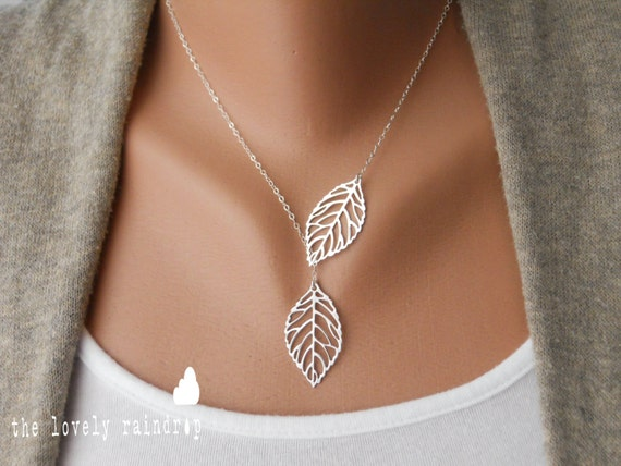 SALE - Leaf Lariat - silver grey white dainty leaf pendants - sterling silver chain - Wedding Bridal Jewelry - Simple Everyday - Gift For
