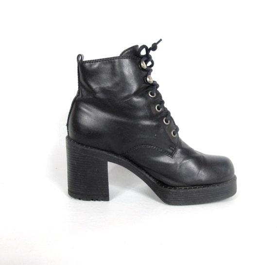 90s Black Platform Lace Up Ankle Boots Faux Leather Vegan Goth