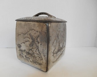 Vintage Art Deco Square Confectionery Tin Nautical Sailboat Windmill Design -- Made in Western Germany -- Embossed Design in Silver Aluminum