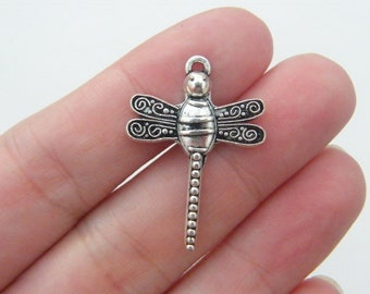 BULK 30 Dragonfly pendants 30 x 21mm antique silver tone D1