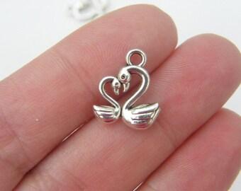 BULK 50 Swans charms tibetan silver B4