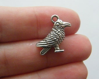 5 Raven bird charms  antique silver tone B29