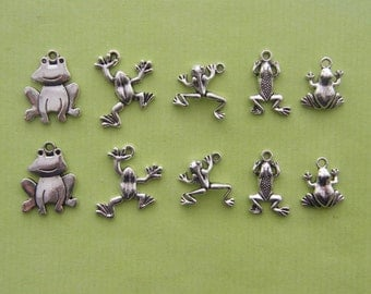 The Frog Collection - 10 antique silver tone charms