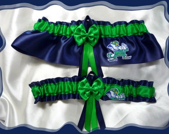 Navy Satin Green Double Bow Wedding Garter Set Made with Notre Dame Fabric