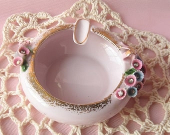 Lefton Shabby Chic Rose Porcelain Ashtray