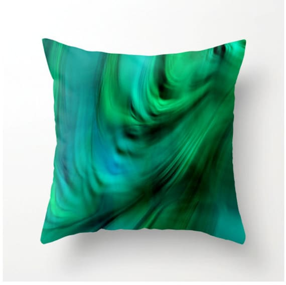 Decorative Pillows For Bed Green : Items similar to Decorative Throw Pillow - Turquoise Green Abstract Design - home decor ...