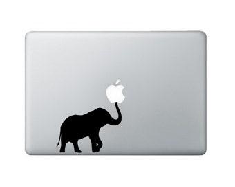 Elephant Macbook Decal - Elephant Laptop Decal - Trunk Up Decal
