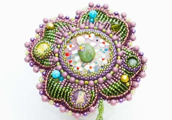 Items similar to bead embroidered four leaf clover brooch