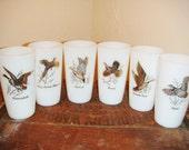 Federal Glass Ware Milk Glass with Wild Birds - Gold Embossed Set of 6 Wild Life Barware  Milk Glass Barware  Ice Tea Glasses Man Cave