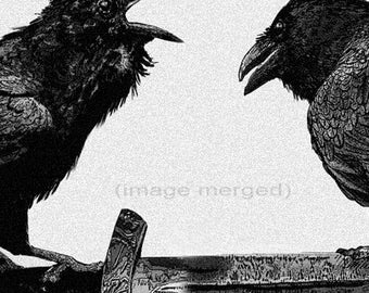 Raven, Odin artwork , Raven, crow, Huginn and Muninn, Etching, assorted colors, 5 inch x 14 inch 2013
