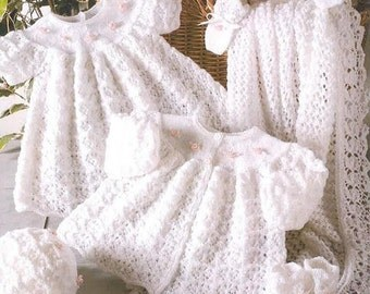 SALE ****Baby KNITTING PATTERN Heirloom Christening, Blessing dress, matinee coat, bonnet, booties, mittens and shawl 3 ply