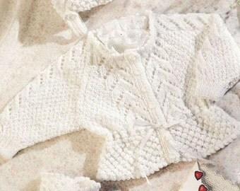 PDF Download Baby Knitting PATTERN - DK 8ply Jacket / Cardigan Bonnet & Bootees 16-22  ins