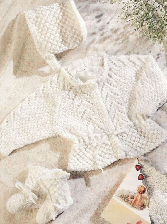 Baby Cardigan Knitting Pattern 8 Ply - White Polo Sweater