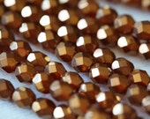 6mm Fire Polished Beads - Sunset Maple Luster - Faceted Czech Glass Rounds - Orange Beads - Burnt Orange