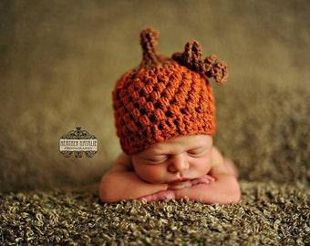 Baby boy hat, baby girl hat, crochet pumpkin hat, pumpkin, photo prop, baby shower gift, first thanksgiving, crochet newborn, coming home