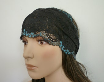 Headband Black /Blue Stretchy Lace, Wedding Hair Bands, Fashionable Hair Accessory