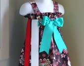 Peacock Dress, Girls Fall Dress with interchangeable ribbon options and matching hairclip sizes 6 months to size 8 girls