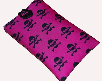 HOT Pink SKULL Mobile Cellphone Ipod Gadget Case Pouch Sock PADDED Gift Idea
