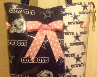 Large Dallas Cowboy Tote with pink bow
