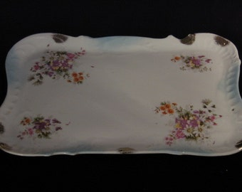 Antique Victorian Porcelain China Floral Perfume Dresser Tray, Late 1800s Victorian China, Antique Dresser Accessory, Perfume Vanity Tray