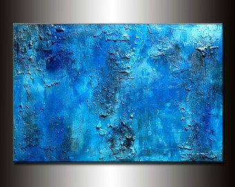 Original Thick BLUE Textured Abstract Painting, Contemporary Modern fine art by Henry Parsinia Large 36x24