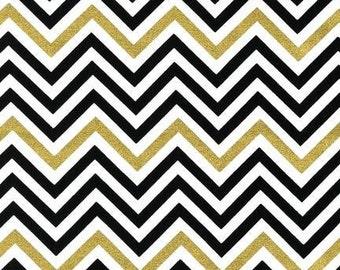"""Remix Metallic Chevron by Ann Kelle for Robert Kaufman Fabrics, Metallic Ebony, End of bolt 33"""""""