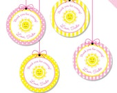 "Sunshine Party - Personalized DIY printable 2"" favor circles"