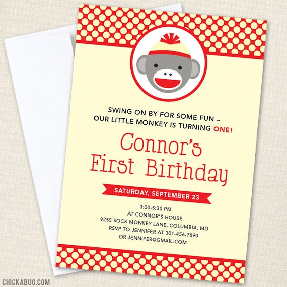 Sock Monkey Party Invitations - Professionally printed *or* DIY printable