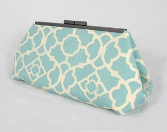Aqua blue Lattice clutch lined with contrast  color faux silk - Framed Clutch-  Purse - Bag