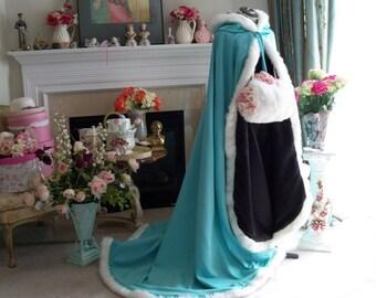 Beauty and the Beast Bridal cape Aqua Blue / Black Satin 67 inch with Fur Trim Wedding Cloak Handmade in USA
