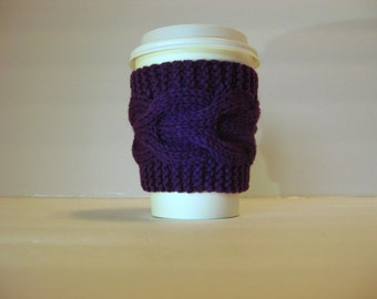 Hand Knit Cup Cozy, Cable Knit Coffee Cup Sleeve,Tea Cup cozie, Royal Purple, Wedding Favor