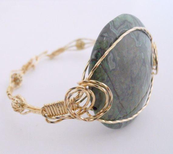 Green Lace Agate Bracelet in 14kt GF