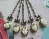 Set of 5 Bridesmaids Necklace, Cream Rose Heart Locket Necklaces, Bridesmaids Gifts