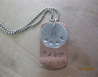 Copper and Sterling Dog Tag Necklace with Charms