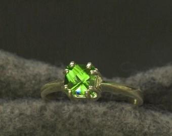 Gem Grade Peridot  Unique Engagement Ring, August Birthstone Ring, Silver Peridot Ring, Princess Cut Peridot, 16th Anniversary gift
