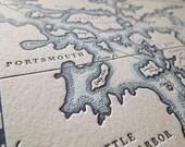Portsmouth, New Hampshire, Letterpress Map Art Print