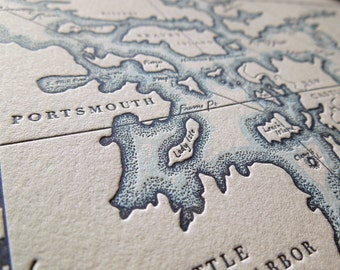 Portsmouth, New Hampshire, Letterpress Map Art Print