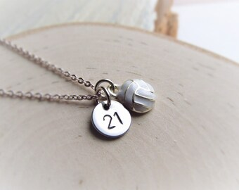 Volleyball Necklace, Jersey Number with Volleyball Charm, Volleyball Mom Jewelry, Personalized Sports Necklace, Volleyball Mom Necklace