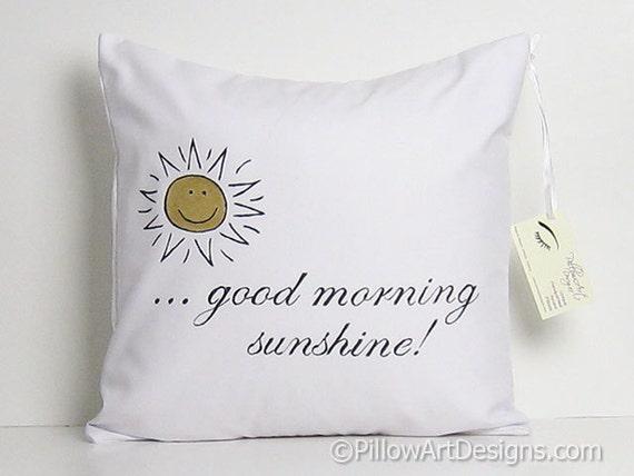 Good Morning Sunshine Words : Throw pillow case with words good morning sunshine metallic