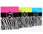 Monogrammed Zebra Composition Notebook Covers -  Back to School - Gift for tweens and teens - Made to Order - You choose color and font