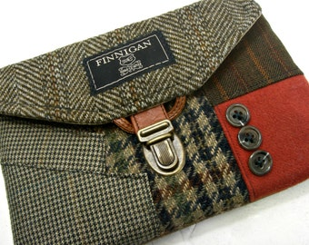 Clutch, Purse Made From Recycled Suit Coat, brown green navy tweed,Eco Friendly