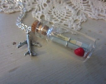 Silver Long Distance Love-Vintage Maps in Mini Glass Bottle