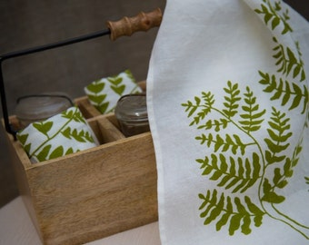 Tea Towel - Organic Linen Kitchen Towel , Hand Screen Printed with Fern Design in Grass Green , Dish Towel