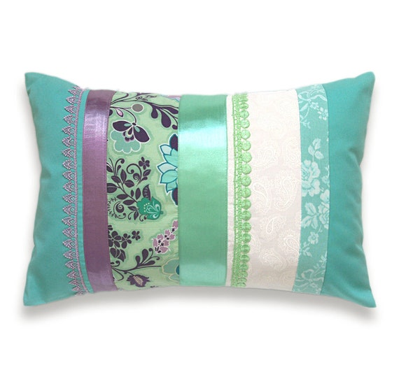 Aqua Blue Mint Green Turquoise Mauve Lumbar Pillow Case 12 x 18 in IRMA DESIGN Limited Edition