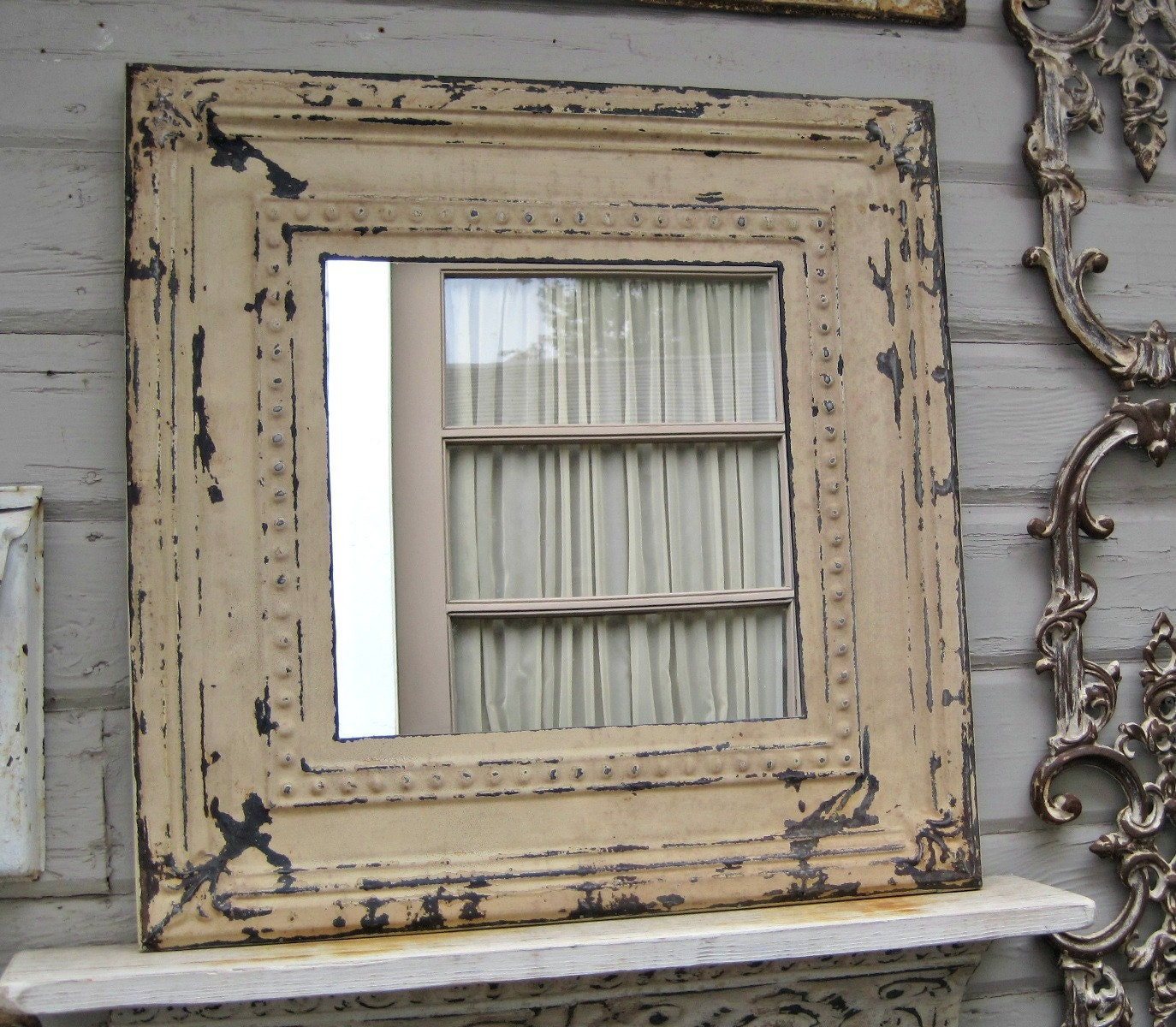 Rustic Mirror Antique Ceiling Tin Mirror Framed Amp Ready To