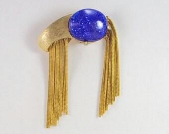 Designer Brooch Lapis Blue Glass Gold Tone Vintage Moderne