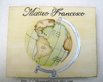 keepsake box,personalized first communion gift, distressed, vintage world globe and sail boats,first communion gift,boys christening gift